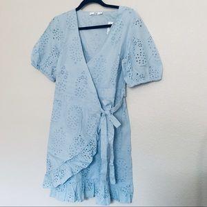 Pale blue lace patterned wrap dress